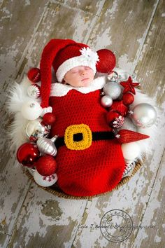 Little Santa Crochet Pattern Cocoon and Hat by SandysCapeCodOrig, $5.95