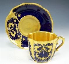 LIMOGES DEMITASSE HAND PAINTED RAISED GOLD FLOWER ON COBALT BLUE CUP & SAUCER