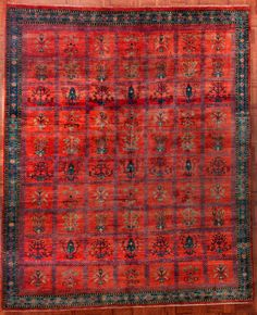 Red Gabbeh with floral motifs in squares and a blue border from Client Grillo Oriental Rugs & ANTIQUE SUPERB HANDWOVEN TORBA TURKOMAN CHUVAL TENT RUG GRAIN BAG ...