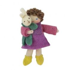 Girl with Bunny Rabbit - Felted Waldorf Doll. Exquisitely handmade with embroidered features. The perfect size for a child's Easter Basket!