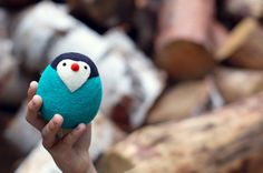 felted emerald penguin by WoollyLoolly