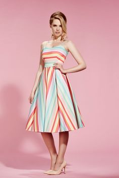 7586024054 Priscilla Candy Stripe Midi Dress | The Pretty Dress Company Beautiful  Summer Dresses, Pretty Dresses