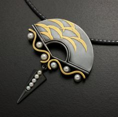 Fine gold keum Boo fan pendant featuring cultured by KAZNESQ, $510.00