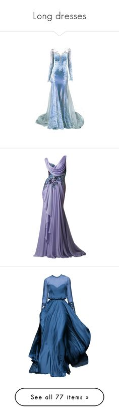"""Long dresses"" by kari-c ❤ liked on Polyvore featuring dresses, gowns, long dresses, vestidos, 13. dresses., purple evening gowns, purple gown, purple ball gowns, purple dress and blue"