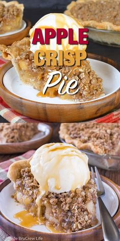 Apple Crisp Pie - homemade apple pie filling and an oatmeal crumble make this the best apple pie. Great recipe to make for Thanksgiving or fall parties.