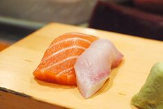 Salmon and yellowtail -- two generous pieces, soft and tender with clean flavors.