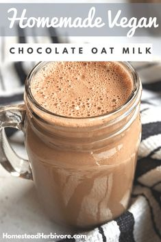 Easy Homemade Chocolate Oat Milk (Vegan, Gluten Free, Nut Free) - { You are in the right place for diy furniture Here we present diy face mask you are look - Chocolate Oats, Homemade Chocolate, Healthy Chocolate Milk, Strawberry Varieties, Milk Recipes, Flour Recipes, Vegan Recipes, Vegan Desserts, Gluten Free Vegan