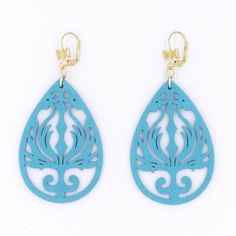 Amazon.com: Light Blue Wood Earrings Phoenix Black Gunmetal Silver Brass Teardrop Statement Earrings Flame Filigree…
