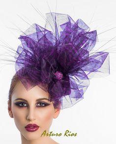 Plum Silk Organza headpiece Cocktail Hat Fascinator by ArturoRios