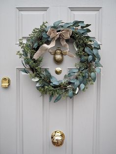 Grey & Gold Composite Door with wreath Grey Composite Front Door, Grey Front Doors, Beautiful Front Doors, Painted Front Doors, Front Door Colors, Country Front Door, Cottage Front Doors, House Front Door, House With Porch