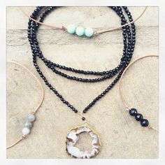 """Congrats @rache2ll for winning the raffle!! Enjoy this double wrap geode necklace and three """"Kate"""" chokers for your friends @catbraat  @leannaburgin @cin_dy_b thanks everyone for entering! ❤️"""