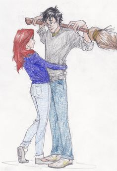 Harry Potter and Ginny Weasley (c) Rowling gimmeakiss Gina Harry Potter, Harry And Ginny, Lily Potter, Harry Potter Ships, Harry Potter Fan Art, Harry Potter Universal, Harry Potter Fandom, Harry Potter Characters, Ginny Weasley