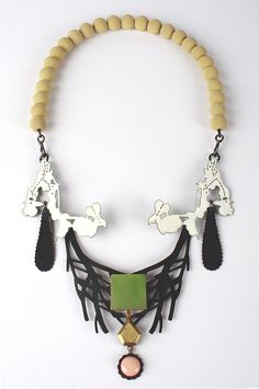 'Emotions necklace green' 18ct gold, antique coral, Andean Opal, enamel and silver. ZOE ARNOLD