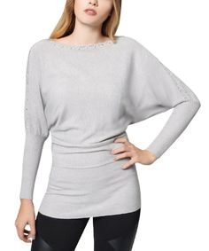 Look at this Gray Brass Stud Dolman Tunic Sweater on #zulily today!