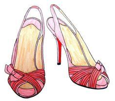 tortadealgodao:    Pink silk slingback stilettos (by jadeboylan)    (more art here) :)