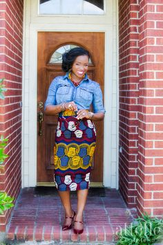 Attolle Clothiers - Great skirt with on-trend colors, beautiful fabric from Nigeria!