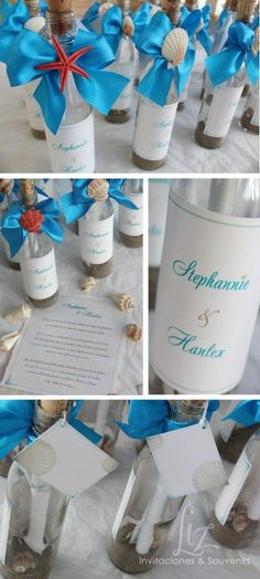 Beach or destination wedding invitations. Message in a bottle.