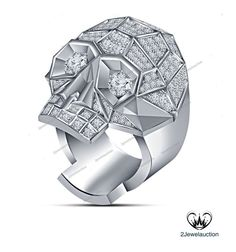 3.90 Ct Round D/VVS1 Diamond Prongs In pure 925 Silver Biker's Skull Men's Ring  #2jewelauction #BikersSkullRing