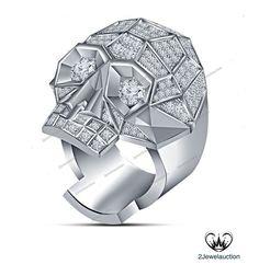 3.90 Ct Round D/VVS1 Diamond Prongs In pure 925 Silver Biker's Skull Men's Ring  #2jewelauction #BikersSkullRing