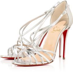 Christian Louboutin Paris Ete ($845) ❤ liked on Polyvore featuring shoes, sandals, silver, leather strap sandals, leather strappy sandals, high heel shoes, open toe high heel sandals and strap shoes