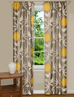 Modern floral curtain panels drapes spa blue yellow grey site modern floral curtains in thomas paul dahlia flowers dove mightylinksfo