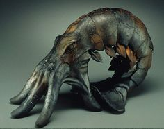 """Beth Cavener Stichter, Premonition, 1998, stoneware clay, sagger fired, oil paints, 11"""" tall"""