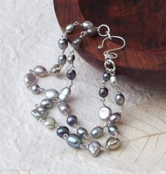 Doublestrand grey silver blue freshwater pearl by graciedot, £24.00