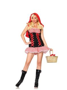 This Red Hot Riding Hood Costume consists of a dress. The red and white checkered dress has a double corset in the front, gingham accents, and an attached cape hood. Little Red Riding Hood Halloween Costume, New Halloween Costumes, Red Riding Hood Costume, Adult Costumes, Costumes For Women, Halloween Customs, Funny Costumes, Theatre Costumes, Pirate Costumes