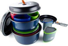 GSI Outdoor Bugaboo Camper Cook set. 4 plates, bowls, mugs, lids, a 2 liter pot w/lid, 3 liter pot w/ lid, a fry pan, pot gripper, and stuff sack (that doubles as wash basin or sink)