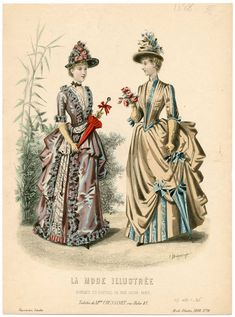 Plate 026 - Costume Institute Fashion Plates - Digital Collections from The Metropolitan Museum of Art Libraries 1880s Fashion, Victorian Fashion, Vintage Fashion, Victorian Costume, Victorian Women, Gowns Of Elegance, Historical Costume, Fashion Plates, Fashion History