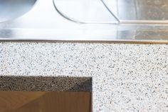 Worktop edge detail in solid maple shaker kitchen - Sheffield Sustainable…