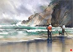 Surfcasters - San Francisco by Thomas W. Schaller Watercolor ~ 22 x 30 inches