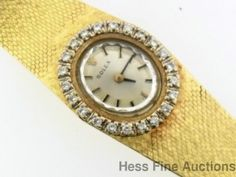 Ladies Vintage 14k Gold Genuine Diamond Petite Rolex Wrist Watch #Rolex #Dress