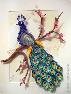 1. Большое спасибо Ольга Ольшак за МК. Теперь и у меня есть павлин - царская птица.  И птица, и прекрасные цветы  Сияли воплощеньем красоты  Павлин без рамочки. фото 1