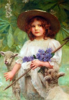 'Girl And Lambs'....repinned by Maurie Daboux ღ ✺ღ❃ღ✿