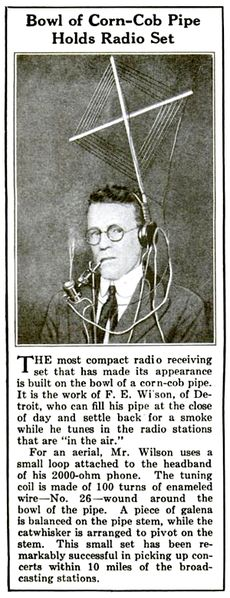 Geeks of the Past - a corncob pipe crystal radio, complete with head-mounted antenna