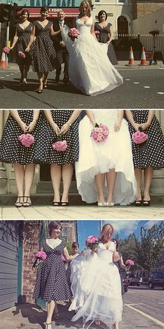 Not sure about the polka dots but having patterned bridesmaids dresses is a really neat idea.