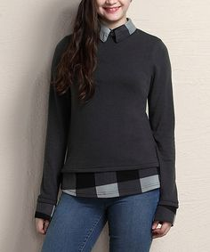 Look what I found on #zulily! Charcoal Buffalo Check Collared Tunic - Plus #zulilyfinds