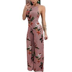 ae87543b494 New 2018 Summer Floral Print Chiffon Rompers Jumpsuits Women s Sexy Lace-up  Backless Wide Leg Pants Loose Playsuit Overalls