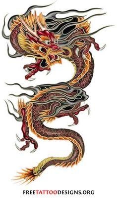 Chinese dragon tattoo flash (black, red & yellow)