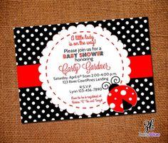 Printable ladybug baby shower invitation free thank you card lady bug invitation ladybug baby shower invitation red stripe black white polka dots filmwisefo Image collections