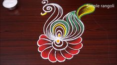 Small & simple peacock rangoli designs   Kolam for beginners   Creative muggulu Peacock Rangoli, Kolam Rangoli, White Peacock, Peacock Design, Rangoli Designs, Simple, Color, Colour, Colors