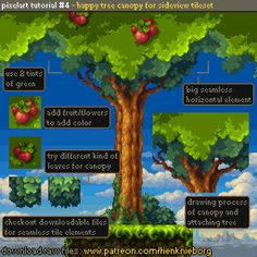Official Post from Henk Nieborg: Attaching a green canopy to the tree in our existing tileset. This tileset starts to grow nicely. Source files are available for Patrons only. Have fun with it!