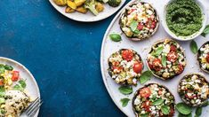 Stuffed Portobello Mushrooms with Pesto. These meaty mushrooms are filled with a quick DIY pesto, garden veggies and goat cheese for a healthy meal with a Mediterranean vibe.