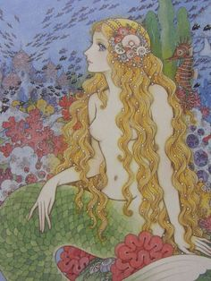 🐬mermaid by Makoto Takahashi🐚gallery in Ginza, Tokyo today) Siren Mermaid, Mermaid Tale, Mermaid Lagoon, Fantasy Mermaids, Mermaids And Mermen, Manga Art, Anime Art, Mermaid Artwork, Water Fairy