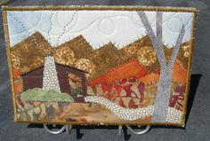 Autumn Fabric Postcard Art Quilt - Fall Mountain Landscape with Cabin Fiber Art. $15.00, via Etsy.