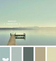 Mental vacation color palette by design seeds Calming Colors, Zen Colors, Beach Cottage Decor, Coastal Cottage, Lake Cottage, Creative Colour, Design Seeds, Beach Cottages, Beach Houses