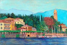 A small village on Lake Como Italy - Happy Birthday Grandfather card. Personalize any greeting card for no additional cost! Cards are shipped the Next Business Day. Happy Birthday Cousin, Lake Como Italy, Beautiful Fantasy Art, Morning Flowers, Animal Shelter, Coloring Books, Original Paintings, National Parks, Fine Art