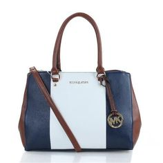 Michael Kors Sutton Center Stripe Large Navy Satchels