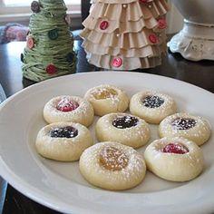 Thumbprint Cookies - easiest recipe ever - Amanda's Cookin' Boston Cream Poke Cake, Cream Cake, Cookie Recipes, Dessert Recipes, Apple Desserts, Cookie Ideas, Christmas Baking, Christmas Cookies, Christmas Treats